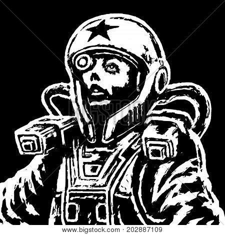 Astronaut heroine in space suit. Vector illustration. Science fiction illustration in black and white Colors. Freehand digital drawing.