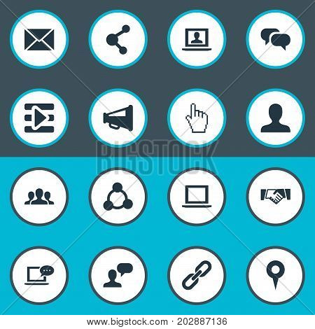 Elements Cursor, Web User, Publish And Other Synonyms Mark, Point And Related.  Vector Illustration Set Of Simple Internet Icons.