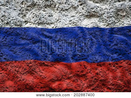 Flag of the Russia against the background of the stone texture