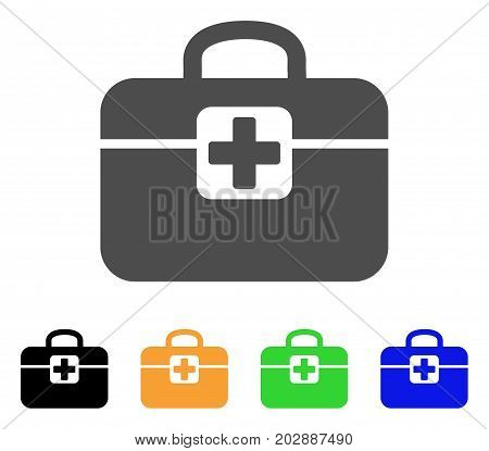 Medkit vector pictogram. Style is a flat graphic symbol in grey, black, yellow, blue, green color variants. Designed for web and mobile apps.