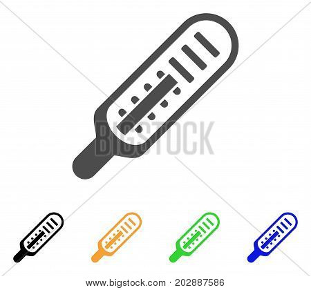 Mercury Thermometer vector pictogram. Style is a flat graphic symbol in grey, black, yellow, blue, green color variants. Designed for web and mobile apps.