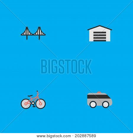 Elements Bridgework, Recycle, Shed And Other Synonyms Bicycle, Garage And Artillery.  Vector Illustration Set Of Simple Transportation Icons.