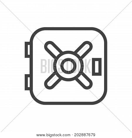 Vector Safe  Element In Trendy Style.  Isolated Vault Outline Symbol On Clean Background.
