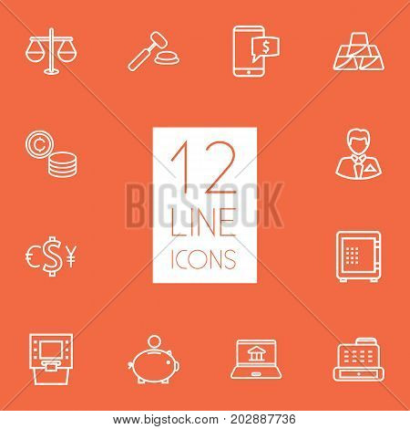 Collection Of Safe, Businessman, Golden Bars And Other Elements.  Set Of 12 Finance Outline Icons Set.
