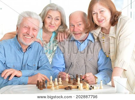 Portrait of a senior men playing chess