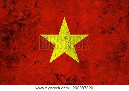 Flag of the Vietnam against the background of the stone texture