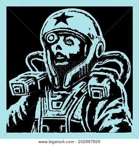 Female face astronaut in helmet. Science fiction character on black and white colors. Vector illustration.