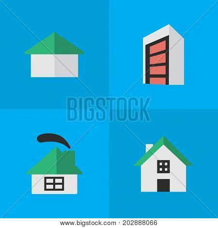 Elements Dwelling, Home, Construction And Other Synonyms House, Construction And Building.  Vector Illustration Set Of Simple Real Icons.