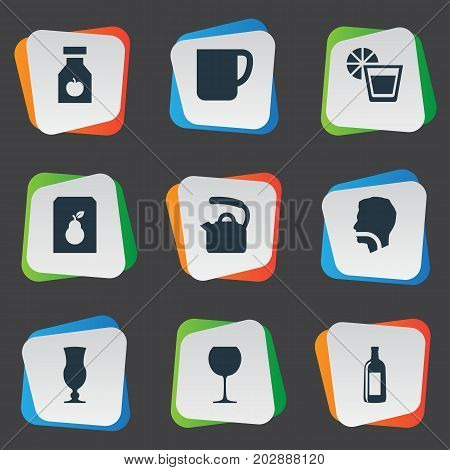 Elements Hydration, Drug, Juice And Other Synonyms Goblet, Juice And Wineglass.  Vector Illustration Set Of Simple Drinks Icons.