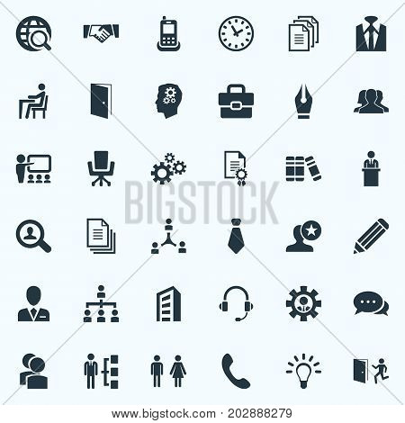 Elements Files, Creativity, Conversation And Other Synonyms Gear, Case And Briefcase.  Vector Illustration Set Of Simple Resources Icons.