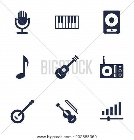 Collection Of Banjo, Octave Keyboard, Knob And Other Elements.  Set Of 9 Music Icons Set.