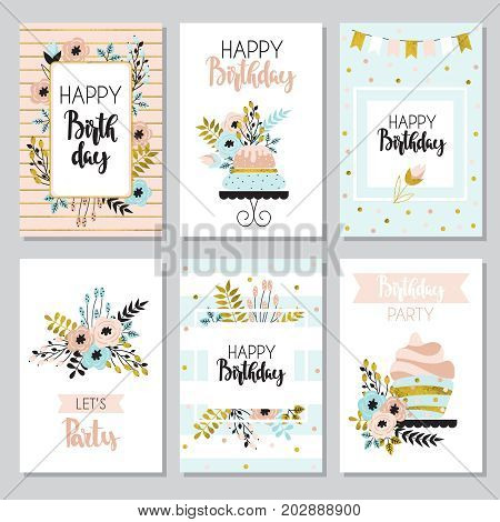 Happy birthday and invitation cards with flowers and cake. Illustration in vintage style pastel colors vector.