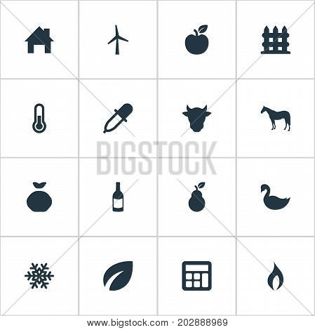 Elements Turbine, Sack, Jonagold And Other Synonyms Fence, Holdall And Jonagold.  Vector Illustration Set Of Simple Harvest Icons.