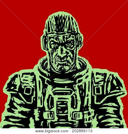 Old astronaut in a space suit without a helmet. Vector illustration. Science fiction illustration. Freehand digital drawing. Serious character.
