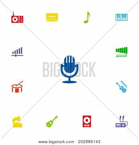 Collection Of Knob, Audio Device, Tambourine And Other Elements.  Set Of 13 Song Icons Set.