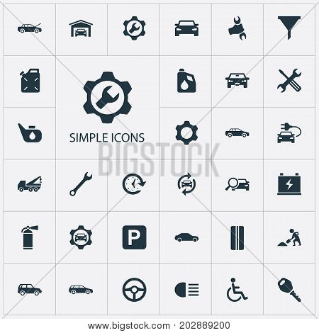 Elements Lock, Workshop, Repair And Other Synonyms Auto, Extinguisher And Sedan.  Vector Illustration Set Of Simple Car Icons.