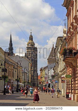 People Are Walking By Mlynska Street In Kosice, Slovakia