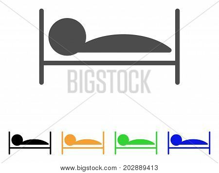 Patient Sleep vector pictograph. Style is a flat graphic symbol in gray, black, yellow, blue, green color variants. Designed for web and mobile apps.