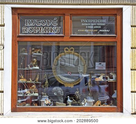 Kosice Slovakia - June 28 2017: the window of commission shop in Kosice Slovakia