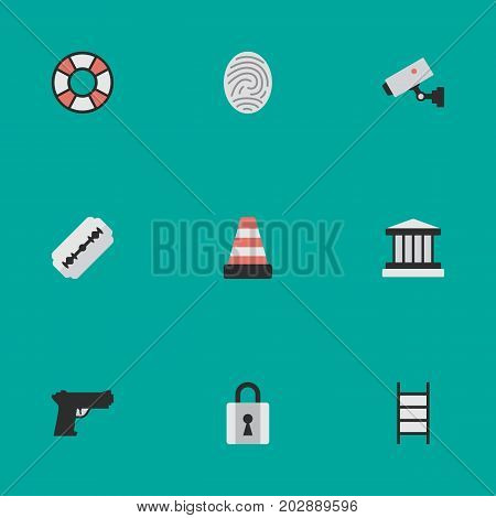 Elements Weapon, Closed, Blade And Other Synonyms Lock, Supervision And Lifesaver.  Vector Illustration Set Of Simple Offense Icons.
