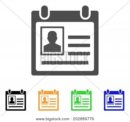 Person Cardfile vector pictogram. Style is a flat graphic symbol in grey, black, yellow, blue, green color variants. Designed for web and mobile apps.
