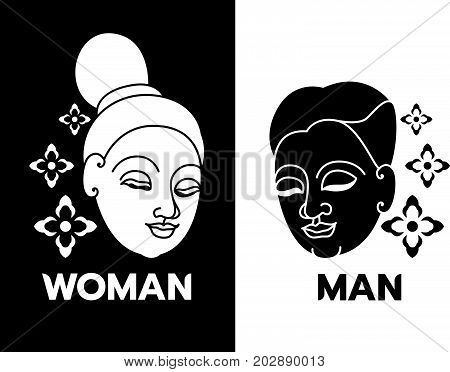 Male & Female Toilet Sign with Head Woman,Man thai  face and flower vector art design