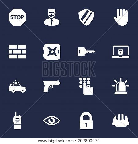Collection Of Sign, Protection, Keypad And Other Elements.  Set Of 16 Security Icons Set.