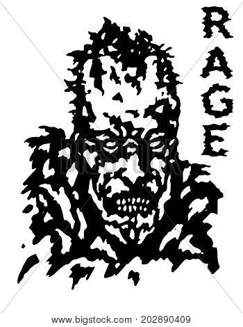 Rage zombie face poster. Isolated vector illustration. Black and white colors. Genre of horror.
