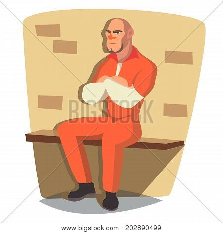 Man In Prison Vector. Bandit Arrested And Locked. Isolated On White Cartoon Character Illustration