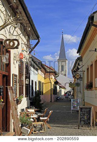 The Narrow Street In Historical Center Of Kosice, Slovakia