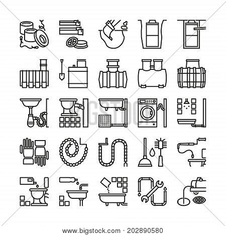 Sewerage line icons. Vector sewage, canalization and plumbing outline symbols