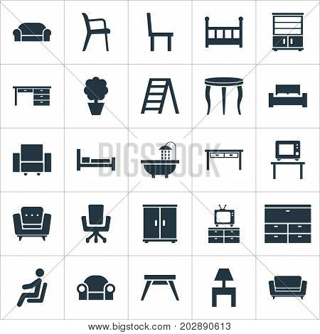 Elements Contemporary Design, Crib, Seat And Other Synonyms Chest, Display And Bedside.  Vector Illustration Set Of Simple Furnishings Icons.