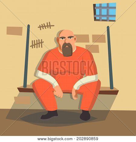Prisoner In Jail Vector. Gangsta Man Arrested And Locked. Flat Cartoon Illustration