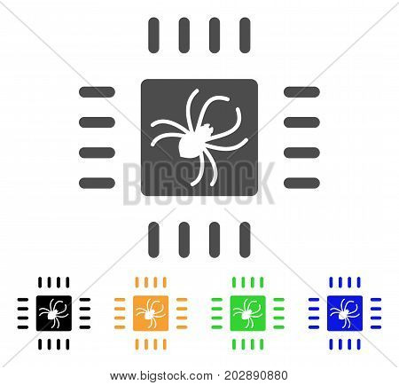 Processor Bug vector icon. Style is a flat graphic symbol in grey, black, yellow, blue, green color variants. Designed for web and mobile apps.