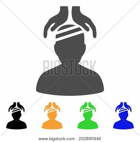 Psychiatry Patient Cure Hands vector icon. Style is a flat graphic symbol in gray, black, yellow, blue, green color variants. Designed for web and mobile apps.