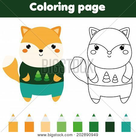 Coloring page with fox. Drawing kids activity. Printable worksheet for toddlers