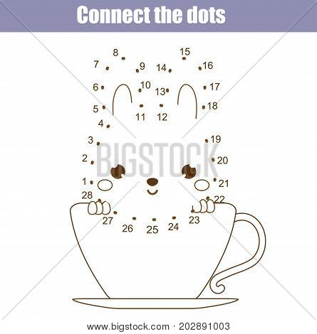 Connect the dots children educational drawing game. Dot to dot by numbers for kids. Animals theme. Printable worksheet activity with cute animal character
