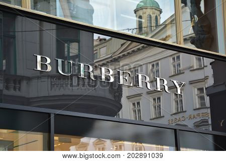 VIENNA AUSTRIA - MAY 03 2016 : Burberry store in Vienna. Burberry is a British luxury fashion house based in London