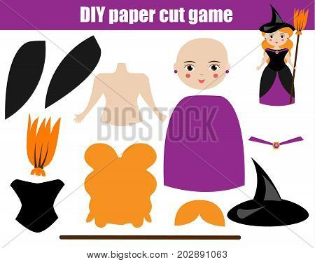 DIY children educational creative game. Make halloween witch girl with scissors and glue. Printable paprecut activity