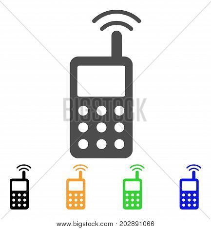 Radio Transmitter Signal vector pictograph. Style is a flat graphic symbol in grey, black, yellow, blue, green color versions. Designed for web and mobile apps.