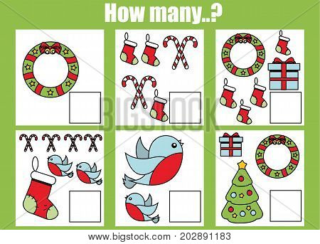 Counting educational children game, kids activity worksheet. How many objects task. Christmas, winter holidays theme. Learning mathematics, numbers, addition theme