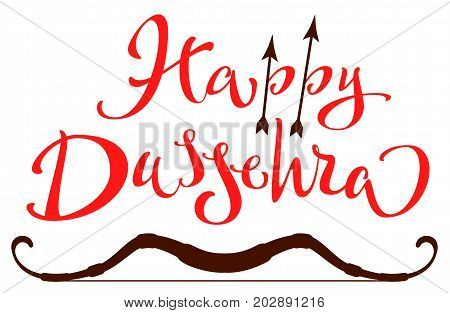 Vijaya Dashami Dussehra hindu festival. Happy Dussehra lettering text for greeting card. Isolated on white vector illustration