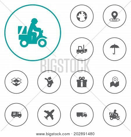 Collection Of Gps, Lorry, Pinpoint And Other Elements.  Set Of 12 Shipment Icons Set.