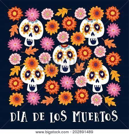 Dia de los Muertos or Halloween greeting card, invitation. Mexican Day of the Dead. Decorative Calavera catrina skulls and colorful autumn leaves and flowers, hand drawn vector background, pattern.