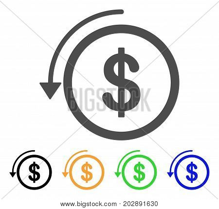 Refund vector pictograph. Style is a flat graphic symbol in gray, black, yellow, blue, green color variants. Designed for web and mobile apps.