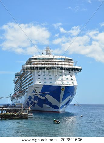 Royal Princess Ship In Dominica, Caribbean