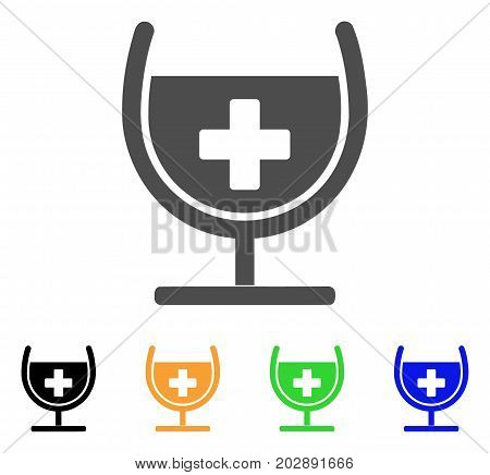 Remedy Syrup Glass vector pictograph. Style is a flat graphic symbol in gray, black, yellow, blue, green color variants. Designed for web and mobile apps.
