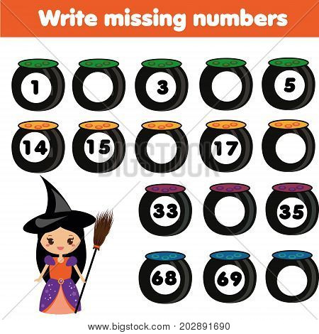 Mathematics educational game for children. Complete the row, write missing numbers. Halloween theme
