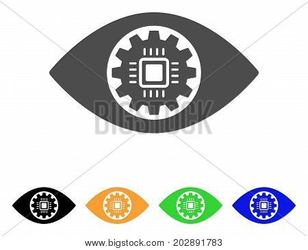 Robotics Eye Lens vector pictograph. Style is a flat graphic symbol in gray, black, yellow, blue, green color variants. Designed for web and mobile apps.