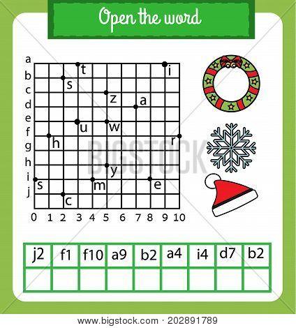 Words puzzle children educational game with coordinate grid. Place the letters in right order. Learning vocabulary worksheet. christmas, winter holidays theme